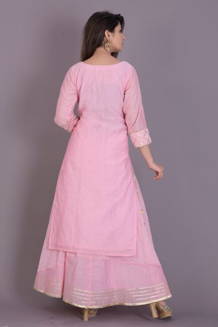 Baby Pink Gota Kurta With Flared Skirt