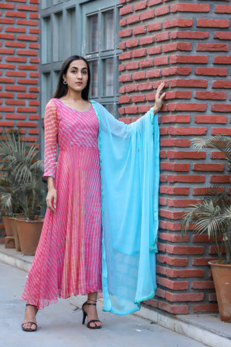 Pink multi leheriya anarkali with blue gota dupatta