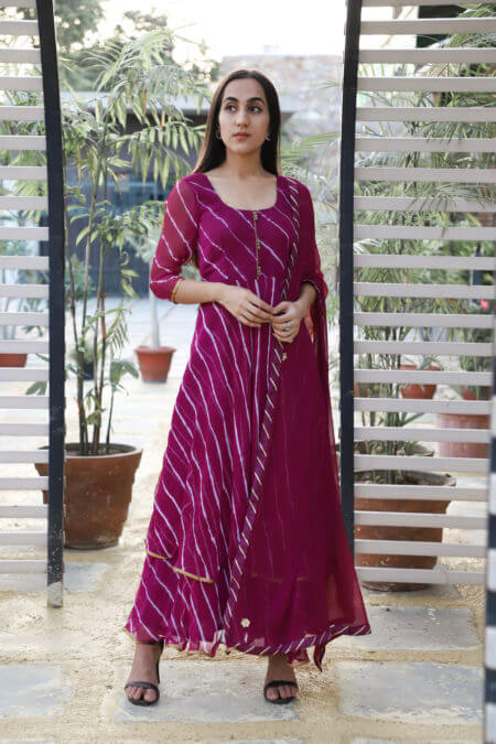 Wine Leheriya Double Layered Anarkali Set