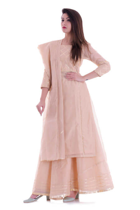BEIGE KURTA SKIRT SET WITH DUPATTA