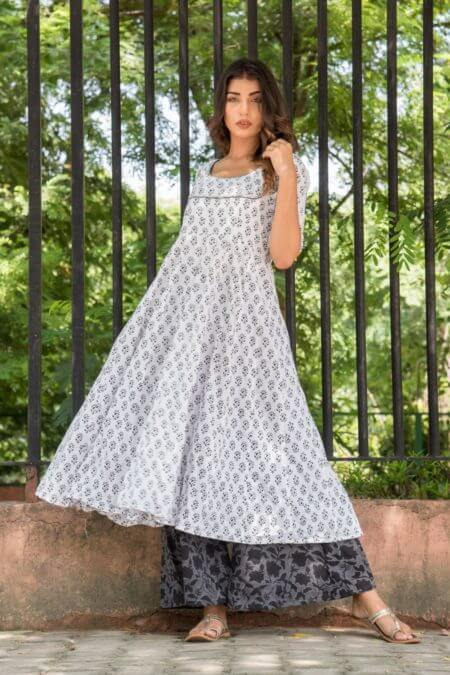 WHITE ANARKALI WITH PALAZO