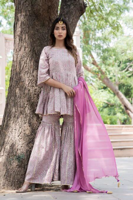 Grey Peplum Top & Gharara Set