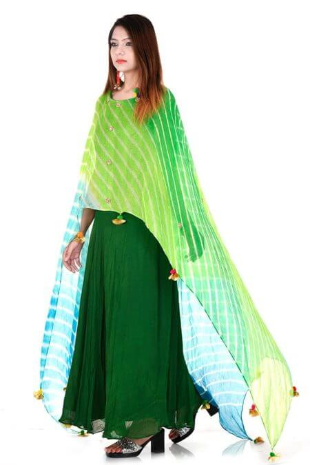 Green Leheriya Cape Dress