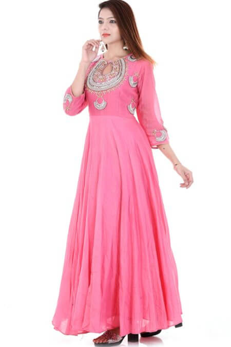 Pink Long Flared Dress