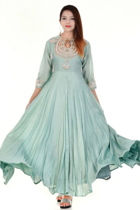 Pista Green Anarkali Dress