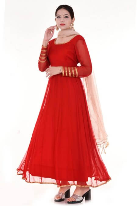 Red Chiffon Anarkali Set