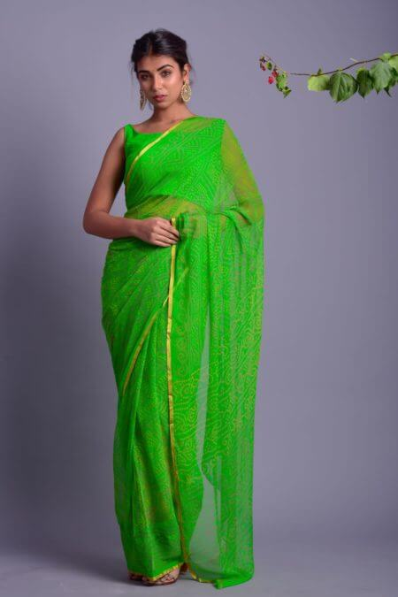 Green Bandhani Saree