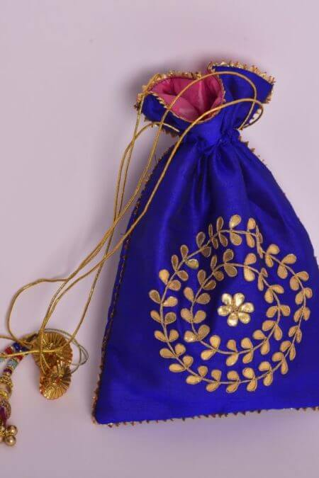Royal Blue Gota Pati Potli