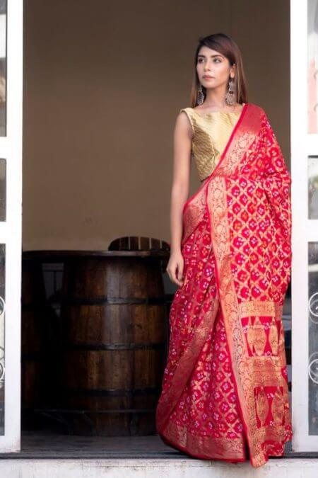 Red Art Silk Zari Saree