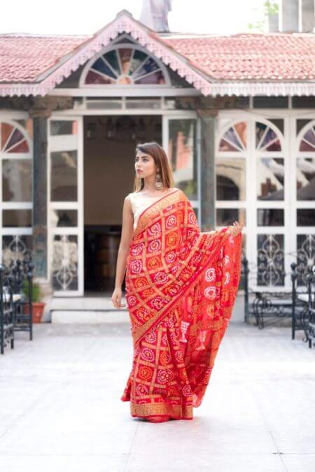 Red Art Silk Checkered Saree
