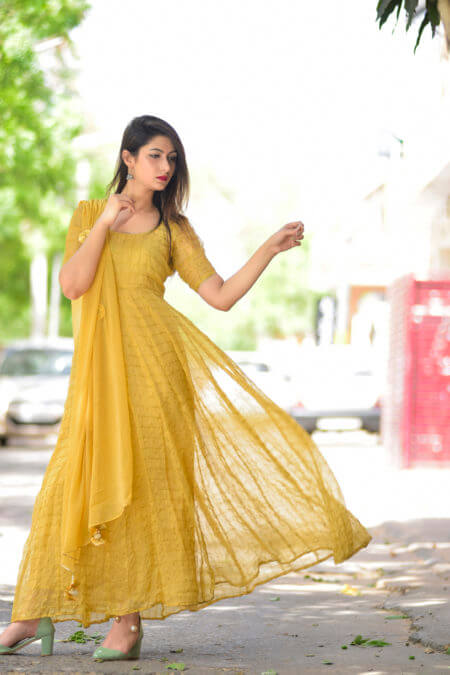 Golden anarkali set